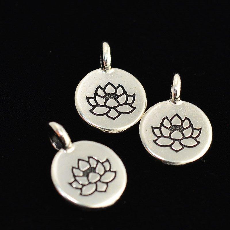 tc94-2403-12 Metal Charm - Lotus Charm - Bright Silver