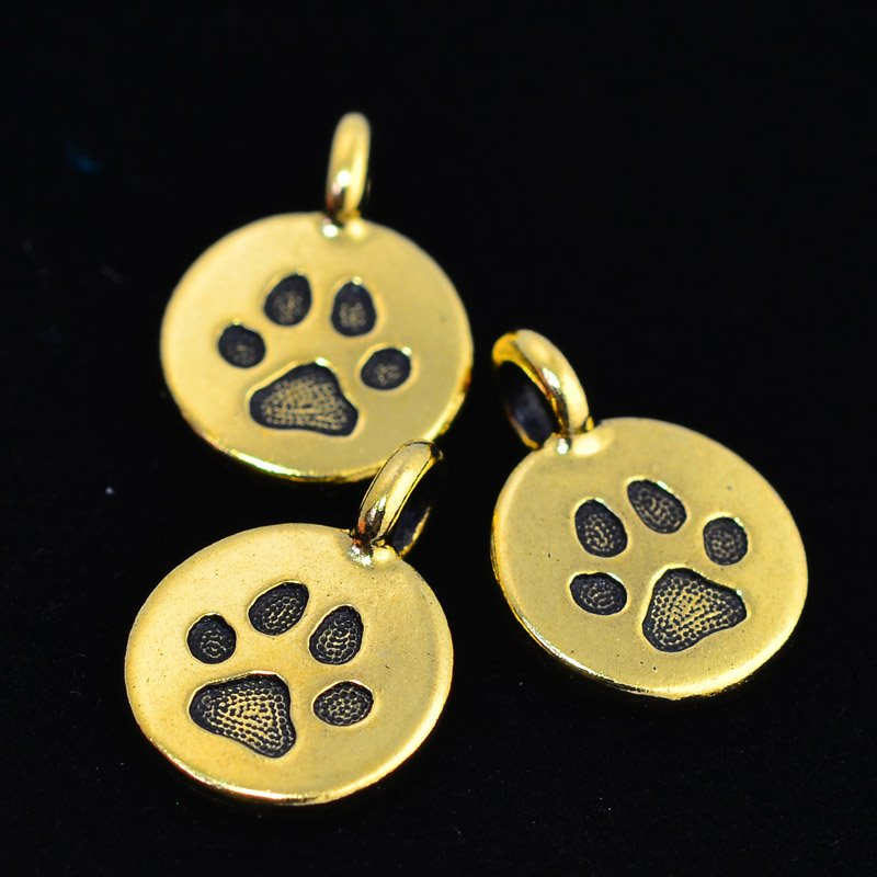 tc94-2420-26 Metal Charm -  Paw Charm - Antique Gold (1)