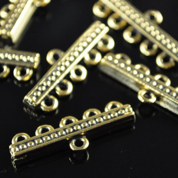 tc94-3056-26 Findings - Connector - 1 : 5 Beaded Bar - Antique Gold (1)