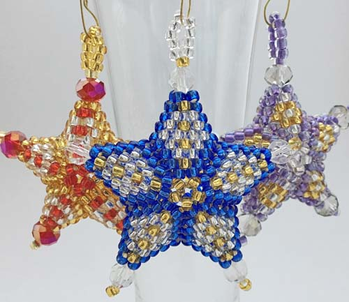 Holiday Ornaments in Peyote Stitch