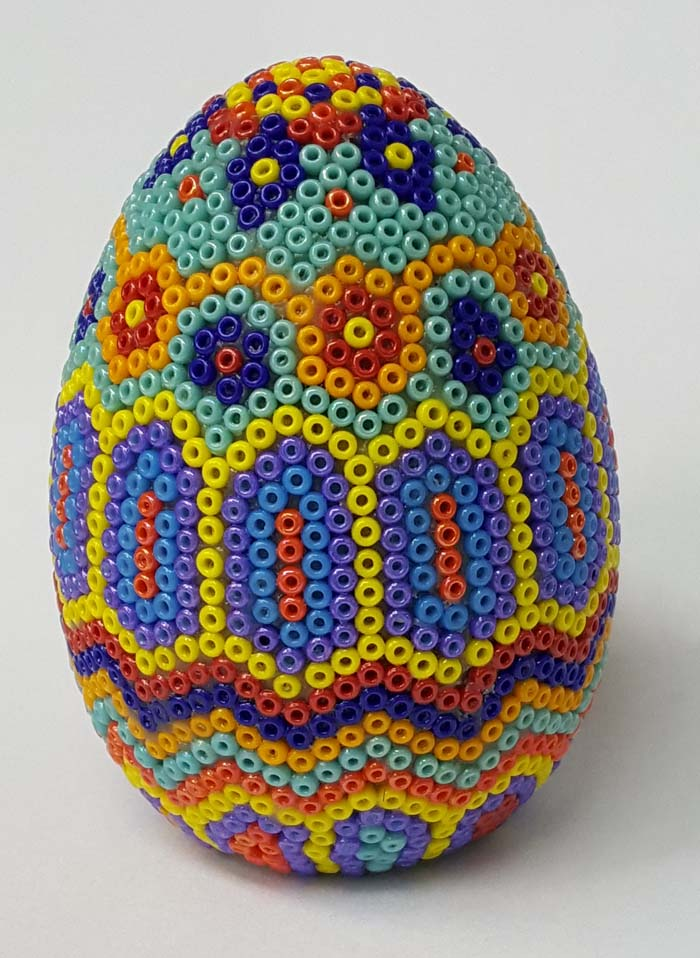 Huichol-style Bead Mosaic: Working on a Curved Surface
