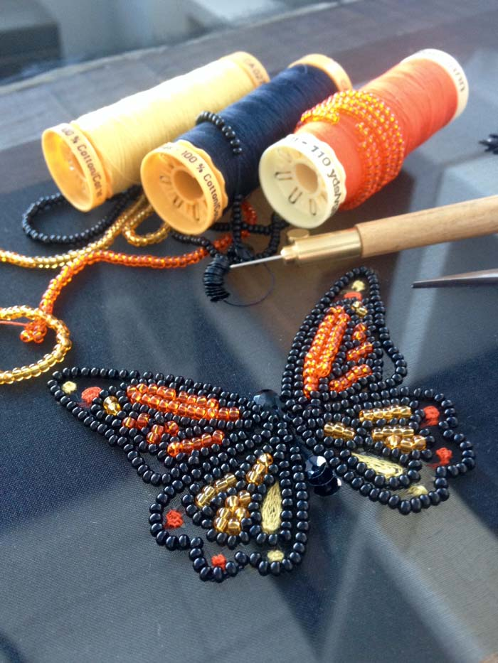 Crochet de Luneville/Tambour Embroidery, Class 2: Mini Monarch Butterfly Motif