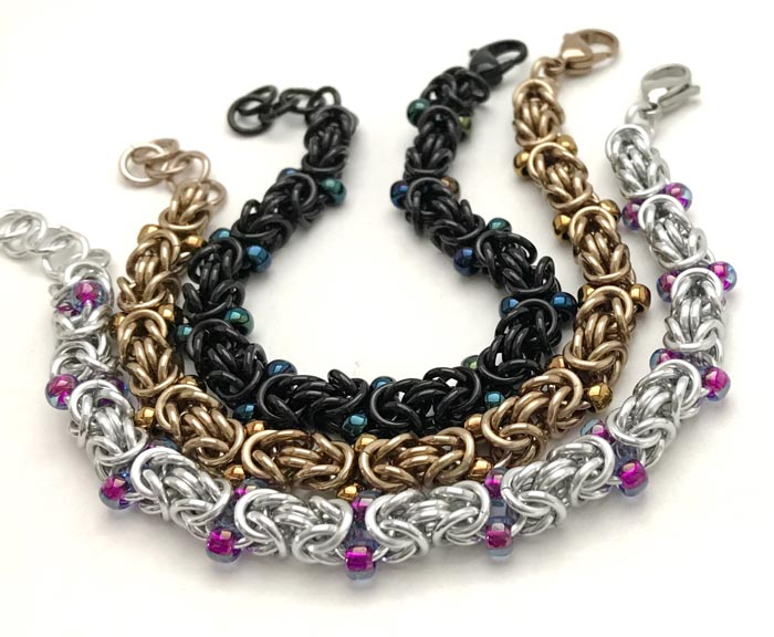 Beaded Byzantine Chainmaille Bracelet