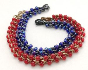 4185efe14 Create a stunning triangular weave bracelet with beads and jump rings!