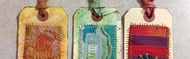 Mixed Media Tags: Stitch, Bead and Paint!