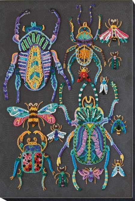 Bead Embroidery Kit - Wall Art Pattern and Beads - Beetles (Kit)