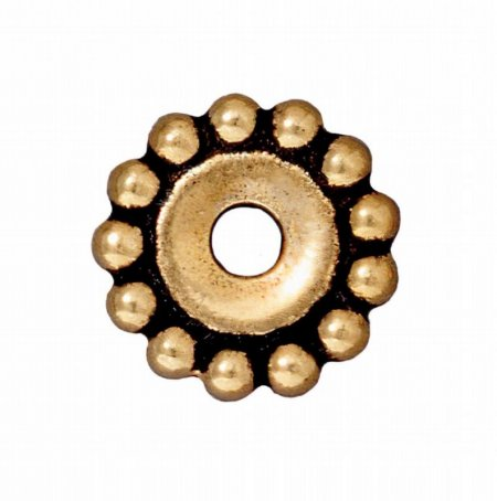 Metal Beads - Big Hole - 12mm Large Hole Beaded (Daisy) Spacer - Antique Gold