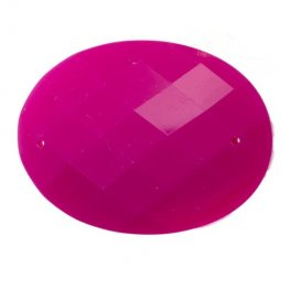 Resin - Fashion Cabochon - 30x40mm Faceted Oval - Neon Pink (10)