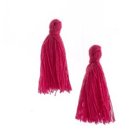 Components - 1in Cotton Tassels - Fuchsia (Pack of 20)