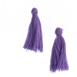 Components - 1in Cotton Tassels - Purple (Pack of 20)