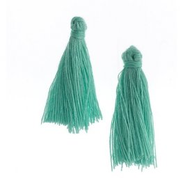 Components - 1in Cotton Tassels - Turquoise Green (Pack of 20)