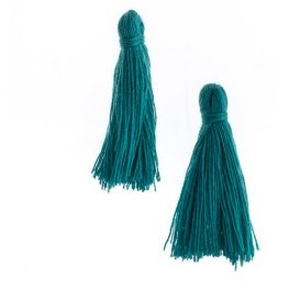 Components - 1in Cotton Tassels - Teal (Pack of 20)