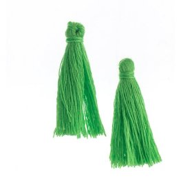 Components - 1in Cotton Tassels - Grass Green (Pack of 20)