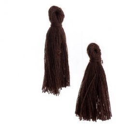 Components - 1in Cotton Tassels - Dark Brown (Pack of 20)