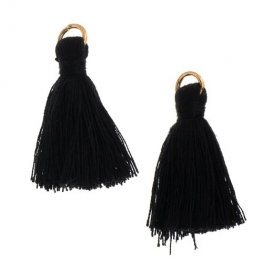 Components - 1in Poly Cotton Tassels - Black (Pack of 10)