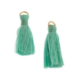 Components - 1in Poly Cotton Tassels - Turquoise (Pack of 10)