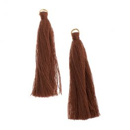 Components - 2.25in Poly Cotton Tassels - Brown (Pack of 10)