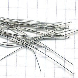 Headpins - 2in / 24ga Flat Head - Rhodium Plated (100)