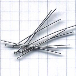 Headpins - 1.5in / 21ga Flat Head - Rhodium Plated (100)