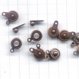Clasp - Button Snap - Antique Copper (10)