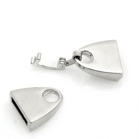 Findings - 10mm Flat Leather - 10mm Fold Over Clasp - Silver (10)