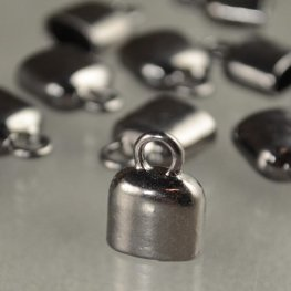 End Cap - ID 5x7mm Smooth Oval - Gunmetal