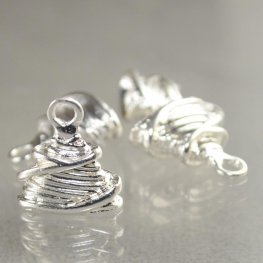 Metal Bead Cap/Cone - Wrapped Bundled Wire - Silverplated