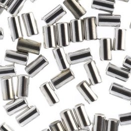 Crimp Tubes for Stretch Cord - .5mm - Bright Silver (80pcs)