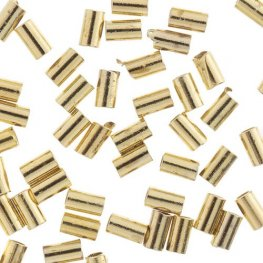 Crimp Tubes for Stretch Cord - .5mm - Bright Gold Plated (80pcs)