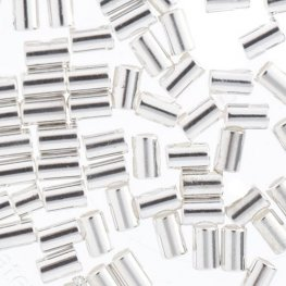 Crimp Tubes for Stretch Cord - .7-.8mm - Bright Silver (80pcs)