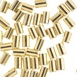 Crimp Tubes for Stretch Cord - .7-.8mm - Bright Gold Plated (80pcs)