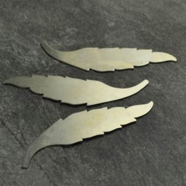 Metal Sheet - 15x60mm Elegant Leaf Blank - German Silver
