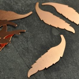 Metal Sheet - 15x60mm Elegant Leaf Blank - Copper