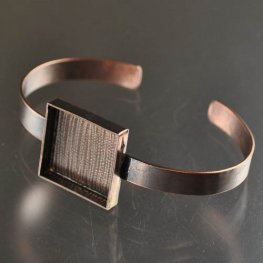 Bezel Bracelet Blank - Cuff with Square - Antique Copper