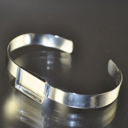 Bezel Bracelet Blank - Cuff with Rectangle - Silverplated