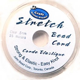 Stringing - .5mm x 25m Stretch Bead Cord - Clear (Spool)
