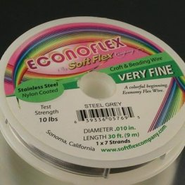 Econoflex (tm) Beading Wire - 30ft .010 (Very Fine) - Stainless Steel (Spool)