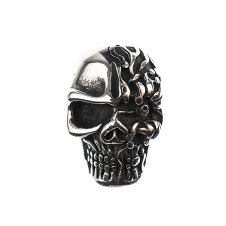 Glue in Cord Clasp - Zombie Skull - Stainless Steel