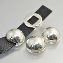 Beads - .5in Flat Leather - High Dome Disk - Bright Silver