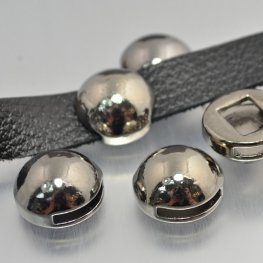 Beads - .5in Flat Leather - High Dome Disk - Gunmetal
