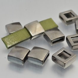 Beads - 10mm Flat Leather - Simple Square - Gunmetal