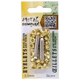 Riveting Supplies - 3.5mm Eyelets - Bright Brass (36)