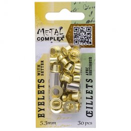 Riveting Supplies - 5.3mm Eyelets - Bright Brass (30)