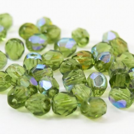 Firepolish - 4mm Faceted Round - Olivine AB (50)
