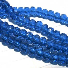 Firepolish - 5mm Faceted Donut - Sapphire (Strand 25)