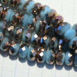 Firepolish - 7mm Faceted Donut - Opaque Turquoise Moonshine - Half-Capri Coat (Strand 25)