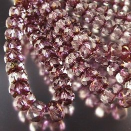 Firepolish - 7mm Faceted Donut - Crystal Pink Gold (Strand 25)