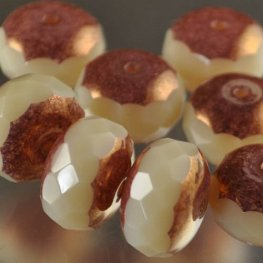 Firepolish - 15mm Faceted Donut - Ivory/Copper
