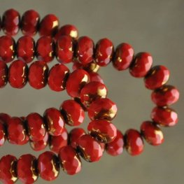 Firepolish - 9mm Faceted Donut - Chinese New Year (strand)