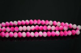 Glass - 10x8mm Faceted Donut - White Opal / Neon Pink Blend (strand 23)